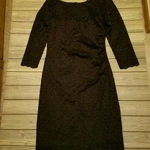 Tiana B all over black fitted lace dress